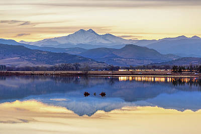 Photograph - Colorado Twin Peaks Golden Reflections by James BO Insogna