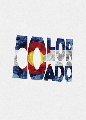 Fort Collins Painting - Colorado Typographic Map Flag by Inspirowl Design
