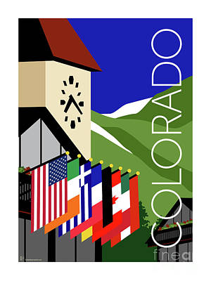 Digital Art - Colorado Vail Clocktower by Sam Brennan