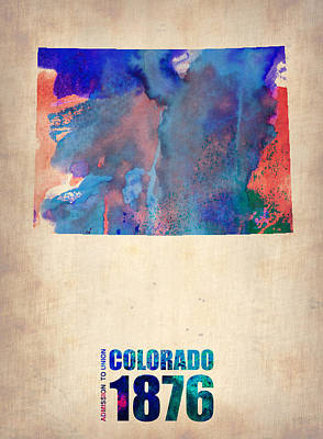 World Map Poster Digital Art - Colorado Watercolor Map by Naxart Studio