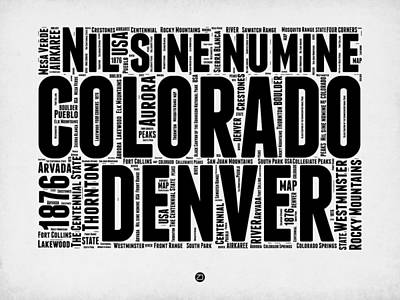 Colorado Word Cloud Map 2 Art Print by Naxart Studio