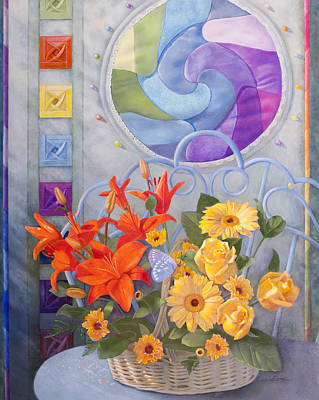 Sewing Room Painting - Colordance Of Summer by Nancy Lee Moran