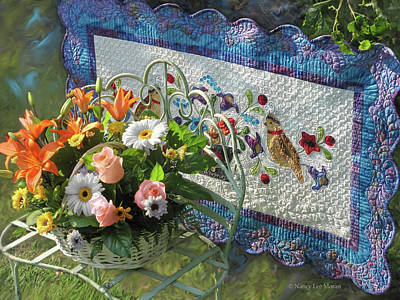 Mixed Media - Colordance With Quail Quilt by Nancy Lee Moran