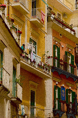 Colored Buildings Amalfi Italy Art Print by Xavier Cardell