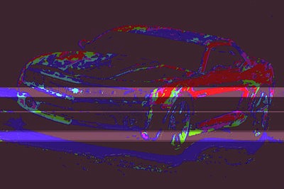 Colored Chevy D4 Art Print by Modified Image