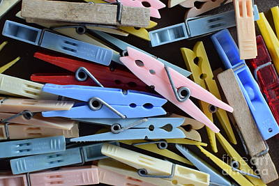Photograph - Colored Clothespins by Larry Johnston