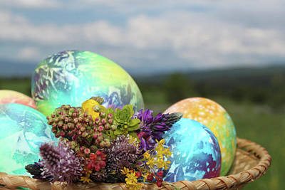 Colored Easter Eggs In Basket And Spring Flowers Original