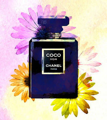 Painting - Colored Flowers Chanel Bottle by Dan Sproul