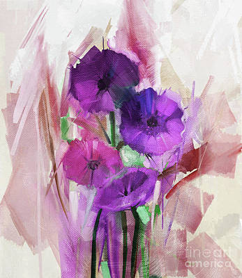 Still Life Painting - Colored Flowers Painting  by Gull G