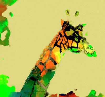 Photograph - Colored Giraffe by David Millenheft