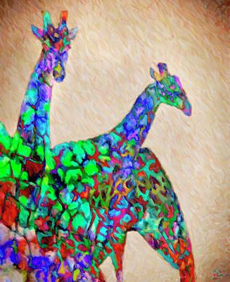 Giraffe Mixed Media - Colored Giraffes by David Millenheft