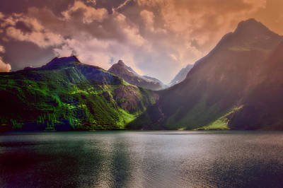Photograph - Colored Lakescape With Mountains by Roberto Pagani