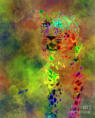 Mixed Media - Colored Leopard by David Millenheft