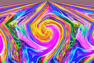 Abstract Digital Photograph - Colored Lines And Curls by Jeff Swan