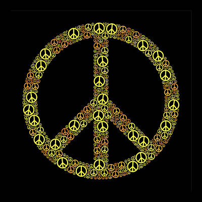 Counterculture Digital Art - Colored Peace Sign Yellow Orangeorange by Peter Hermes Furian