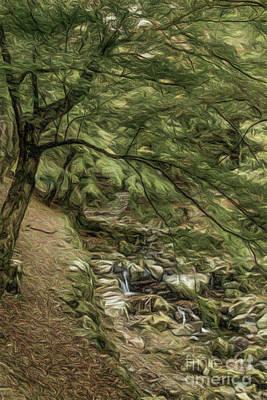 Maple Leaf Art Drawing - Colored Pencil Drawing Creek At Yoro Waterfall In Gifu, Japan,  by Eiko Tsuchiya