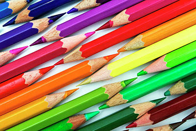 Large Group Of Objects Photograph - Colored Pencil Tips by Image by Catherine MacBride
