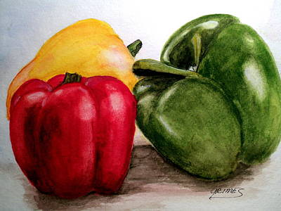 Painting - Colored Peppers by Carol Grimes