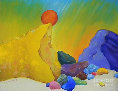 Colored Rocks In Sand Art Print by Emily Michaud