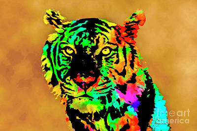Mixed Media - Colored Tiger by David Millenheft