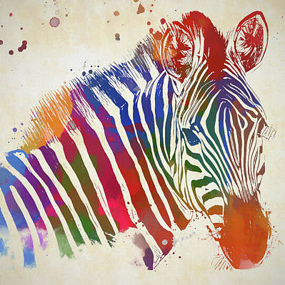Painting - Colored Zebra by Dan Sproul