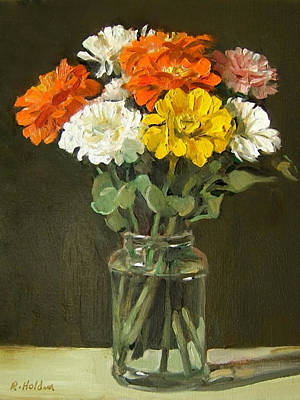 Painting - Colored Zinnias In Glass Jar by Robert Holden