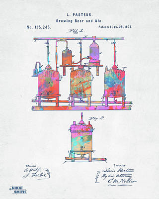 Digital Art - Colorful 1873 Brewing Beer And Ale Patent Artwork by Nikki Marie Smith