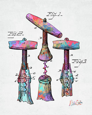 Digital Art - Colorful 1883 Wine Corckscrew Patent by Nikki Marie Smith