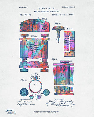 Digital Art - Colorful 1889 First Computer Patent by Nikki Marie Smith