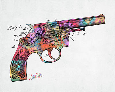 Digital Art - Colorful 1896 Wesson Revolver Patent by Nikki Marie Smith