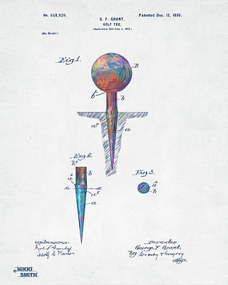 Digital Art - Colorful 1899 Golf Tee Patent by Nikki Marie Smith