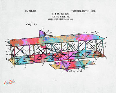 Digital Art - Colorful 1906 Wright Brothers Flying Machine Patent by Nikki Marie Smith