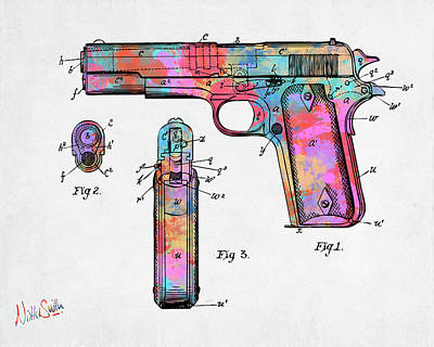 Digital Art - Colorful 1911 Colt 45 Browning Firearm Patent Artwork Minimal by Nikki Marie Smith