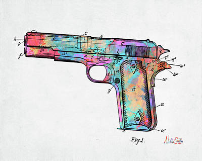 Digital Art - Colorful 1911 Colt 45 Browning Firearm Patent Minimal by Nikki Marie Smith