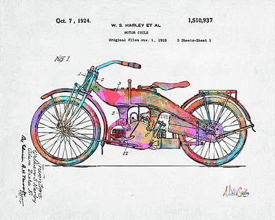 Digital Art - Colorful 1924 Harley Motorcycle Patent Artwork by Nikki Marie Smith