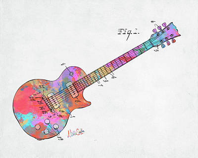 Digital Art - Colorful 1955 Mccarty Gibson Les Paul Guitar Patent Artwork Mini by Nikki Marie Smith