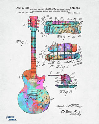 Digital Art - Colorful 1955 Mccarty Gibson Les Paul Guitar Patent Artwork by Nikki Marie Smith