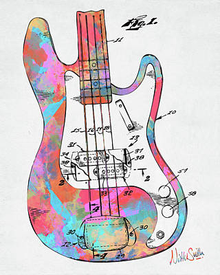 Digital Art - Colorful 1961 Fender Guitar Patent by Nikki Marie Smith