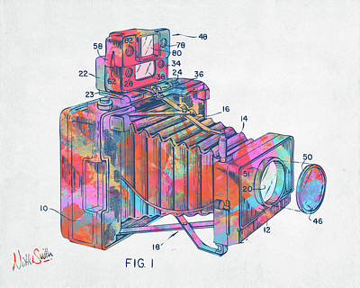 Digital Art - Colorful 1966 Photographic Camera Accessory Patent Minimal by Nikki Marie Smith