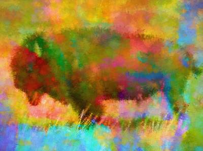 Bison Mixed Media - Colorful Abstract Bison by Dan Sproul