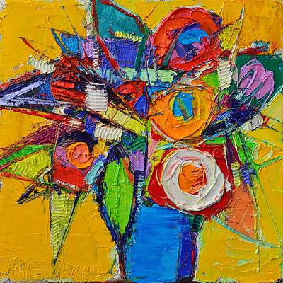 Painting - Colorful Abstract Floral Geometry Expressionism Impasto Knife Oil Painting  By Ana Maria Edulescu    by Ana Maria Edulescu