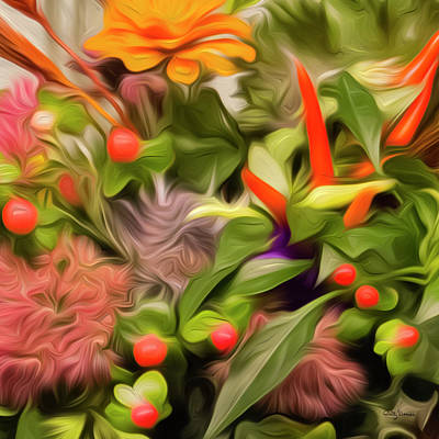 Photograph - Colorful Abstract Floral Square 1 Of 2 by Betty Denise