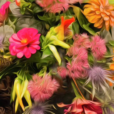 Photograph - Colorful Abstract Floral Square 2 Of 2 by Betty Denise
