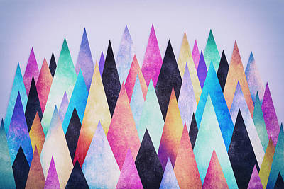 Diamond Digital Art - Colorful Abstract Geometric Triangle Peak Woods  by Philipp Rietz