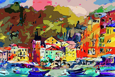 Mixed Media - Colorful Abstract Italy Portofino Impression by Ginette Callaway