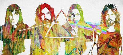 Iconic Painting - Colorful Abstract Pink Floyd by Dan Sproul
