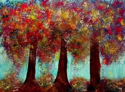 Night Painting - Colorful Abstract Trees by Stephanie Zelaya