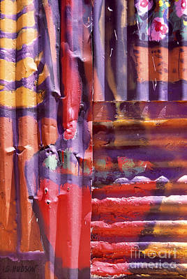 Painting - colorful abstract urban still life - Corrugated Vase by Sharon Hudson