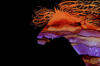 Painting - Colorful Abstract Wild Horse Silhouette In Purple And Orange by Michelle Wrighton