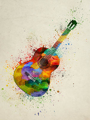 Music Paintings - Colorful Acoustic Guitar 01 by Aged Pixel